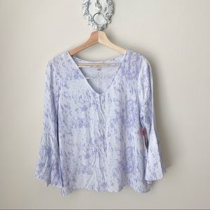 NWT Violet and white tie dyed boho blouse